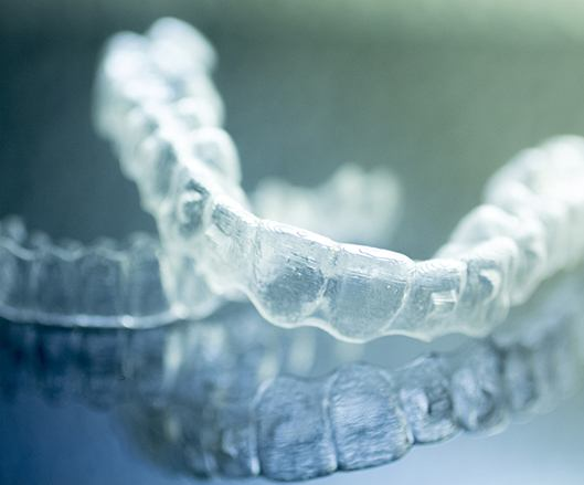 Set of Invisalign clear aligners
